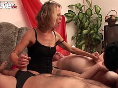 Marga and Gundi get fucked and eaten up by three horny guys in the bedroom.