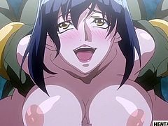 Hentai babe gets caught and fucked by monster