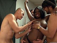After the game this black teen needs some thick cock. She undresses in front of the football team and takes as much cock, as she can get. Kay has cock in her hands and in her mouth. These guys want to spunk all over her chocolate tits.