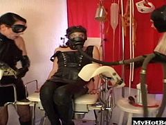 Maike is a hot lesbian who loves latex. Her and her 2 girlfriends put on some latex gear and played with a gas mask while putting a dildo in a girls pussy while she was wearing the gas mask. These kinky bitches sure know how to play with latex and turn you on with how kinky they are