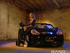 Briana Banks latex fetish sex with doggystyle anal over a car