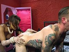Watch as this exotic looking transsexual bends her man over and pounds his tight asshole so hard. Will moans and screams, as Jessy thrusts her big lady cock into his sweet asshole. Then he wrapped his lips on her rock hard lady meat.