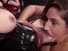 Two lesbos enjoying harsh BDSM porn sensations