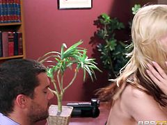 Slutty Sarah cannot refuse her boss' invitation... Click to see the superb blonde-haired milf undressing in the office. She's really horny and licking her playful nipples, makes the guy excited, too. Watch the busty lady sucking cock!