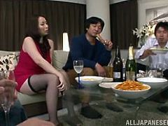 aoi drops to her knees for cock