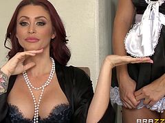A dominant redhead wife with sensual lips calls the slutty maid to serve meal. The brunette busty babe has just finished sucking a succulent dick, when horny Monique asks her to take off those sexy bikini. Smelling them makes her partner very turned on... See the naughty milf taking in charge from here on...