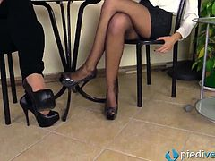 These two marvelous amateur chicks Tessa and Thena on the lunch break