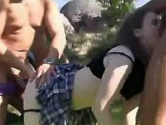 Gorgeous School Gal Gangbang Outdoors