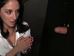 Dashing college girl is an expert at blowing glory hole dicks