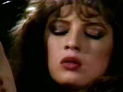 Buxom messy haired vintage nympho gets her slit licked and gives head