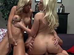 Angelina Ash and Jessica Lynn get rammed with a big dick in a hardcore threesome. The two blonde pornstars dont mind sharing cock as long as they both get a taste in their mouths and pussies. After he has had his fill of Angelinas and Jessicas pussy, he cums inside of one of their hot holes.