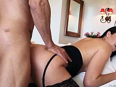 Brunette nymphos in black lingerie are always for steamy doggy fuck