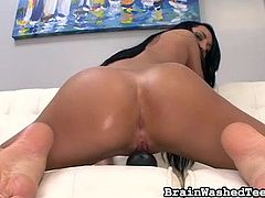 She gets completely naked, to reveal her sexy tight body and her perky young breasts. She looks so erotic, when she slides out of her jean shorts. The cutie tries out many sex toys on her soaking wet vagina, from a clear dildo to a hitachi vibrator.