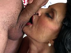 Versed Rita knows exactly how to handle a horny dick. This superb brunette mature lady has got gorgeous big boobs and an appetizing pussy. What's more, she's just craving to play dirty, as you can see her passionately sucking cock on her knees.