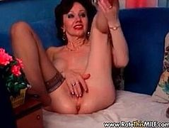 Amateur granny MILF teases with feet, legs and hairy pussy
