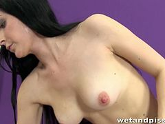 Pale skinned babe Domi liking her own piss after getting wet all over in her own urine