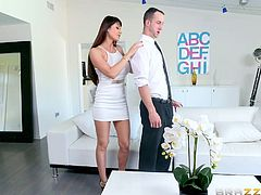 This long-haired brunette bitch doesn't lack sex-appeal. Her huge boobs are a big turn on for her partner. See the hot milf on high heels, removing her white elegant dress. Click to watch her unzipping the guy's pants, to taste his cock.