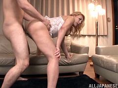 Are you fond of naughty Asian bitches? Horny Shizuko is eager to please her partner, riding his cock with flaming passion. Click to watch the desiring blonde-haired slut, fucked hard from behind or with legs widely spread. Enjoy the lusty details!