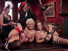 Holly, Cassidy and Bill can't keep having sex among themselves. That's why when a friend invited them to an exclusive sex party, they were absolutely amazed to find out what it entailed. Babes got hand cuffed and had sex in every possible position.