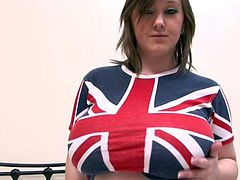 Busty babe in Union Jack t shirt gets naked in the bedroom mpeg4