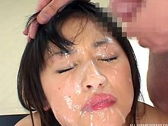 This horny naked Japanese babe would do anything, just to have fun. Click to watch her entertaining some lusty guys... The bitchy brunette has lovely tits and enjoys sucking dick. See her face covered with a big load of yummy cum.