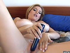 Jamie is older, but her sexual appetite just keeps increasing. She's not waiting for her man to get home from work. Hell, she isn't even waiting for him to go on lunch! She gets her toy out and starts sucking on it. She also gets her pussy wet, by fucking herself deeply with it in several positions.