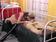 Latex gloves handjob and blowjob nurse