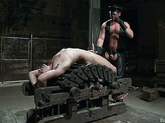 Ouch! This slave is in a lot of pain. The master is so upset with him, that he puts the slaves balls in a clamp. The clamp gets even tighter, until the slave is brought to the point of crying. Even worse is that the leather bound master makes the slave keep an erection, while he is whipped.