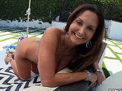 Curvy mom Ava Addams with huge ass and massive boobs shows off her perfect nude body in the backyard. She displays her neatly trimmed pussy and then gets her big sweet titties sucked.