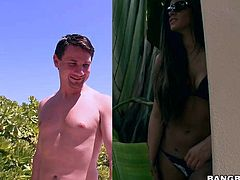 Hot brunette in a bikini, Madelyn Marie is going to suck on that cock of his by the pool. She puts her luscious lips on his cock and the dream cums true