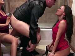 A lucky guy gets to play with two brunettes in the bathroom. Hes going to give them both a nice taste of his big dong and theyre going to fucking love it
