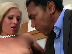 Sexy secretary Candy Love has her pussy eaten by black man