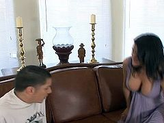 Sami Scott is the Horny dark haired milf around huge tits.  Her sons freind is over visiting and confesses this hes the virgin so Sami helps him surrounding this problem by fucking his rod onto her couch.