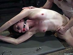 John wants to punish dirty Audrey and he has specially prepared a strong rope bondage, to tie her... See the naked redhead wearing a ball gag, while her legs are widely spread. Hear her screaming, as he stuffs his big dick in her appetizing ass!