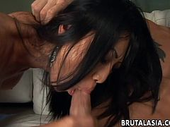 One hot Asian slut gets to be fucked by the fellas in a very raw threesome. Sucking on one and jerking on the other as she gets a huge orgasm as the session is on.