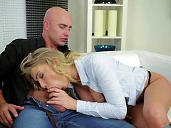 European blonde Lucy Heart in white blouse and black bra gives mouth job to hot bald guy and then gets her pink pussy pounded with legs wide open. She is fucking hot and loves hard sex.