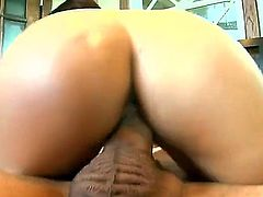 Ann Marie Rios is a smoking hot sexy with killer bubble butt.She takes off her tight white shorts after headjob and gets her pussy stuffed. She rides cock in her pussy and puts her awesome ass on show.