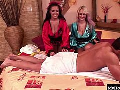 Jasmine Black and Wendy Wonders, who both have giant home grown melons and youll be watching the naval pierced brunette, massaging the blondes nipples, as they get sucked by the guy fucking her shaved twat, until they suck his dick for a cum swap