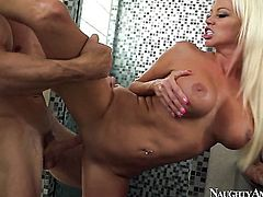 Latina Nikita Von James with trimmed pussy enjoys Johnny Sinss throbbing worm deep inside her bush