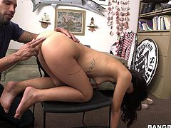 18 year old sexy hottie Gina Valentina takes off her sexy pink panties and bends over to make guy happy. She gets her pussy fingered and her sweet asshole licked from behind in a casting room. Gina Valentina is proud of her perfect ass!