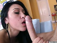 Saucy breathtaker Jayden Lee is out of control with pulsating meat stick in her snatch in interracial action