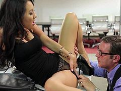 Hot asian babe in high heels Asa Akira gets her tight beautiful pussy licked by co-worker without taking off her black panties and then gets mouth fucked on her knees. Asa Akira is hot and horny!