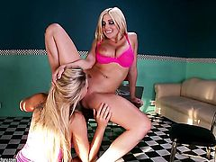 Blonde Christie Stevens with gigantic knockers wants this lesbian fuck session with horny Zoey Monroe to last forever