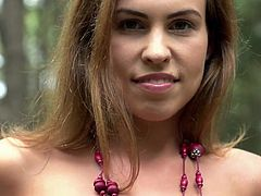 Jenny likes to hang out alone in the woods mostly. She is a hottie with a knock out body, that anyone will fall for. Watch her walking among the trees, with her natural boobs and shaven pussy on full display. She is wearing nothing but a necklace and feeling up her hot and sexy naked body.