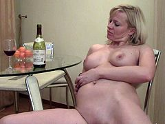 Drunk Blonde Uses Her Bottle On Her Pussy