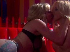 Two hot blondes are two petite chicks and theyve got themselves a huge dildo. Theyre going to use that toy to make each other cum a whole lot of times here