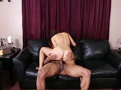 The naked babe in the video is going to be awfully fucked by her horny partner. Click to watch the seducing lady with long brown hair, riding cock on the couch. See the man stuffing his big dick down her throat and enjoy the hardcore inciting scenes!