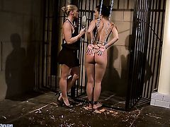 Blonde Kathia Nobili takes Barbie Pinks tongue deep in her honeypot after foreplay