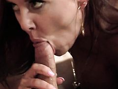 Janet Mason does oral job for horny dude to enjoy