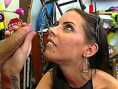 Brandy Aniston is a brunette that loves sucking cocks. Shes going to suck on hic cock in this blow job video in the sex shop. They couldnt even get out of the shop